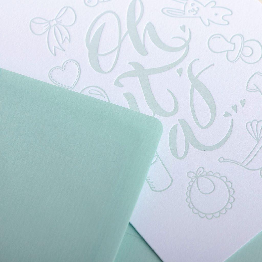 babykarte letterpress